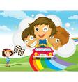 rainbow race vector image