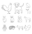 realistic animals outline icons in set collection vector image