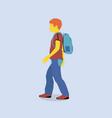 redhead boy goes to school vector image vector image