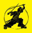 samurai standing ready to fight with swords vector image vector image