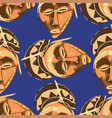 seamless pattern vintage woodenn masks vector image vector image