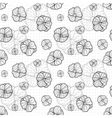 seamless pattern with doodle outlined flowers vector image vector image