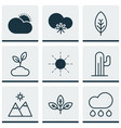 set of 9 harmony icons includes sprout rain vector image vector image