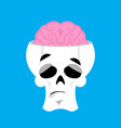 skull and brain surprised emoji skeleton head vector image vector image