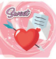 sweet love card with heart and letter vector image