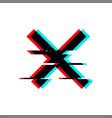 symbol cross in glitch style geometric vector image vector image