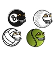 Tennis golf volleyball billiard cartoon balls vector image
