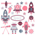 the cartoon set with flat spaceships planets vector image vector image