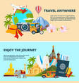 travel theme with pictures of vector image vector image