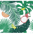 tropical leaves and fruits pattern vector image