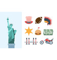 united states america culture large set statue of vector image vector image
