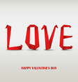 Valentine card with folded red paper love vector image vector image