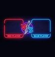 versus screen design in neon style neon banner vector image