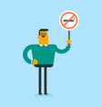 young caucasian white man holding no smoking sign vector image
