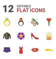 12 beauty flat icons set isolated on white vector image vector image