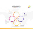 4 steps modern mindmap diagram with circle lines vector image