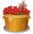 A basket of roses with a butterfly vector image vector image