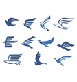 Abstract fast flying blue birds vector image vector image