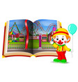 amusement park scenery in the book and clown vector image