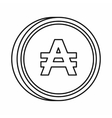 Argentine austral sign icon outline style vector image vector image