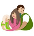 asian family hugs dad mom daughter cartoon flat vector image vector image