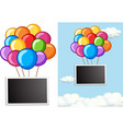 border template with colorful balloons in sky vector image vector image