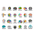 brain logo genius and technology smart mind vector image vector image