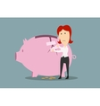 Businesswoman fixing the crack on piggy bank vector image vector image