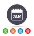 calendar sign icon january month symbol vector image