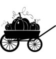 cart with pumpkins silhouette vector image vector image