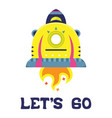 cartoon flat with a spaceship vector image vector image