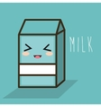 cartoon milk box blue design vector image vector image