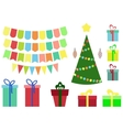 Christmas and New year set gift boxball balloon vector image vector image