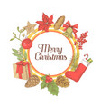 christmas greeting card new year hand drawn vector image vector image