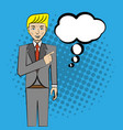 comic man pop art business speech vector image