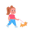 cute child girl character walks dog vector image