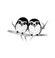 cute couple of owls on branch isolated on white vector image vector image
