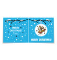 double sided holiday card with christmas bells vector image vector image
