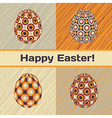 easter card with 4 patterned eggs vector image vector image