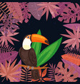 exotic tropical toucan bird in jungle palm vector image vector image