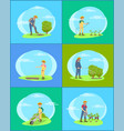 farmer work on farm and garden cartoon banner set vector image