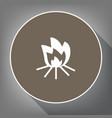 fire sign white icon on brown circle with vector image