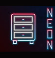 glowing neon line archive papers drawer icon vector image vector image