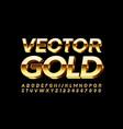 gold alphabet shiny 3d font vector image