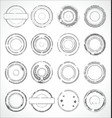 grunge round paper stickers black and white 1 vector image