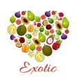 Heart of exotic fruits poster for food design vector image vector image