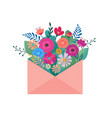 hello spring letter envelope with flower bouquet vector image vector image