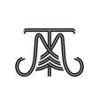 initials mt logo vector image