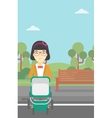 Mother walking with baby stroller vector image vector image
