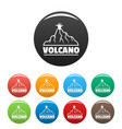 new volcano icons set color vector image